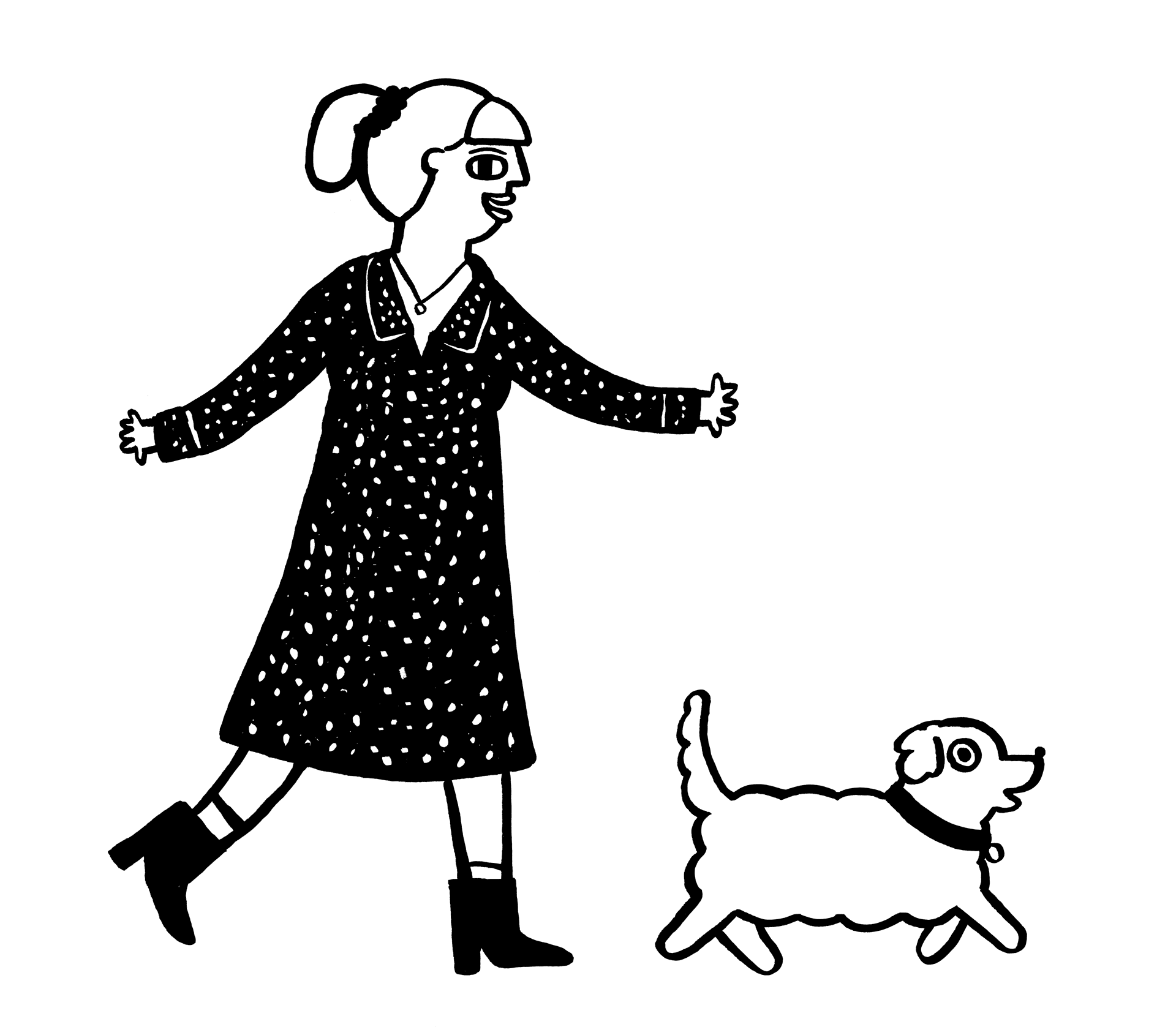 Woman and Dog Illustration Brick By Brick