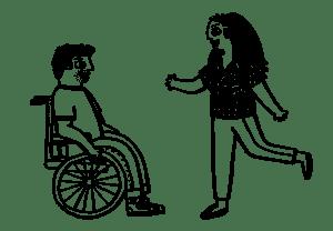 Brick By Brick Couple Wheelchair User Illustration